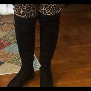 Ivanka Trump over the knee micro suede black boots